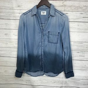 Anthropologie Holding Horses Dip Dyed Chambray Top